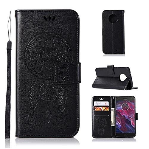 LMAZWUFULM Hülle für Motorola Moto X4 (5,2 Zoll) PU Leder Magnetverschluss Brieftasche Lederhülle Eule & Traumfänger Muster Standfunktion Ledertasche Flip Cover für Motorola X4 Schwarz