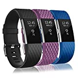 Bands Replacement Compatible for Fitbit Charge 2, Adjustable Wrist Accessories Sport Wristbands for Women&Men (Black-Royal Blue-Deep Purple-L, Small)