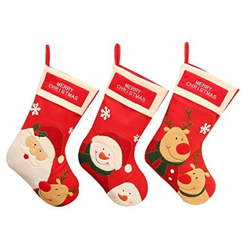 GHJU 3PS-Modus Weihnachten Schwarz Rot Karierte Socken Geschenktüte Weihnachtsbaumschmuck Weihnachtsschmuck Neujahrssocken Baumschmuck Qingqiao