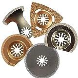 JINKEBIN Abrasivo de Accesorios for Herramientas eléctricas, 5pcs oscilante Multiherramienta Saw Blade Set Encaja oscilantes Herramienta de Lijado Pad