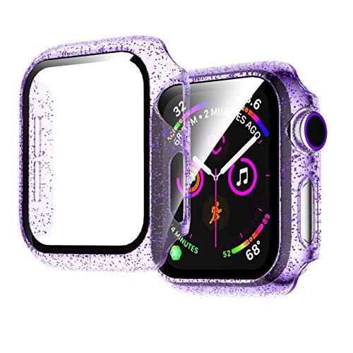LAAGFC Cubierta de Vidrio + para Apple Watch Case 44mm 40 mm 42mm 38mm Accesorios Accesorios Jelly Bling Pantalla de Parachoques Protector para iWatch Series 5 4 3 6 SE