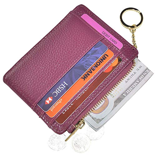 Ehsbuy Cartera delgada para tarjetas de crédito con bloqueo RFID de cuero con cremallera monedero llavero para mujeres y hombres
