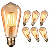Ampoule LED Edison, Massway LED Vintage Ampoule Antique Lampe décorative E27 4W 2700K Rétro Lampe Edison Blanc Chaud Incandescence 6 Pack