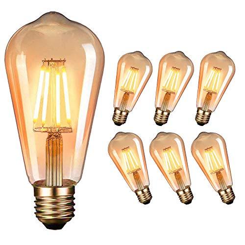 LED Edison Vintage Glühbirne, Massway Retro LED Edison Glühlampe E27 (4W / 220V) 2400-2600K Amber Warmweiß Retro-Licht, antike Lampe im Vintage-Stil im Haus Café Bar usw- 6 Stück