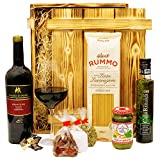 Geschenkset Verona | Italien Geschenkkorb gefüllt mit Wein, italienischen Spezialitäten & Holzkiste | Feinkost Präsentkorb mit Rotwein und Delikatessen für Männer & Frauen