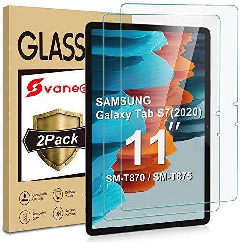 Svanee Panzerglas Schutzfolie für Samsung Galaxy Tab S7 11 Zoll 2020 (SM-T870/T875), [2 Stück] [9H Härte, High Definition, Einfache Installation] Gehärtetes Glas Displayschutzfolie