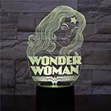 Wonder Woman Model Lamp Creative Nuit Lumière Couleur Changeante...