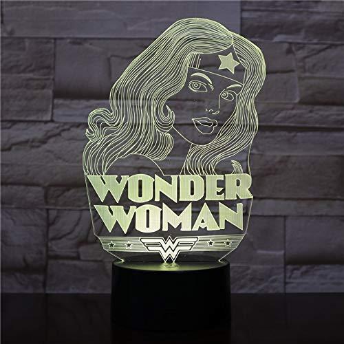 Lámpara Modelo Wonder Woman Creative Night Light Color Que Cambia la iluminación de la habitación de los niños