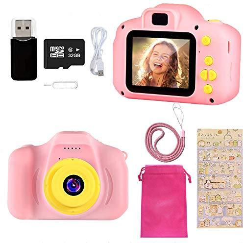 Ibello Fotocamera Bambini, Macchina Fotografica Digitale Videocamera 8MP 1080 HD Schermo da 2 Pollici con Scheda di Memoria da 32 GB Regalo di Compleanno per Bambini 3-8 Anni (Rosa)