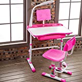 Yinleader Pink Kids Desk and Chair Set,Height Adjustable Children Desk with Adjustable Tilted Desktop, Bookstand, Touch Led Lamp for School Student Sturdy