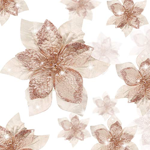 36 Pieces Christmas Glitter Poinsettia Flowers Artificial Flowers Wedding Glitter Christmas Tree New Year Ornaments (Rose Gold,3 Inch, 4 Inch, 6 Inch)