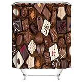 SLN Schokolade Mit Geometrischen Figuren. Duschvorhang. 180 X 180 cm. 12 C-Förmige Haken. Einfach Zu Säubern. Wasserdicht. Nicht Verblassen. Haus Dekoration.