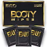 BOOTY WIPES for Men - Flushable Wet Wipes for Adults Unscented, Individually Wrapped Travel Wipes, Disposable Man Wipes with Vitamin E and Aloe (30 Count)