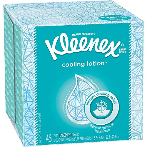 Kleenex, Cooling Lotion Facial Tissues, 3 Ply, 45 Tissues Per Box, Infused With Coconut Oil - 1 Box