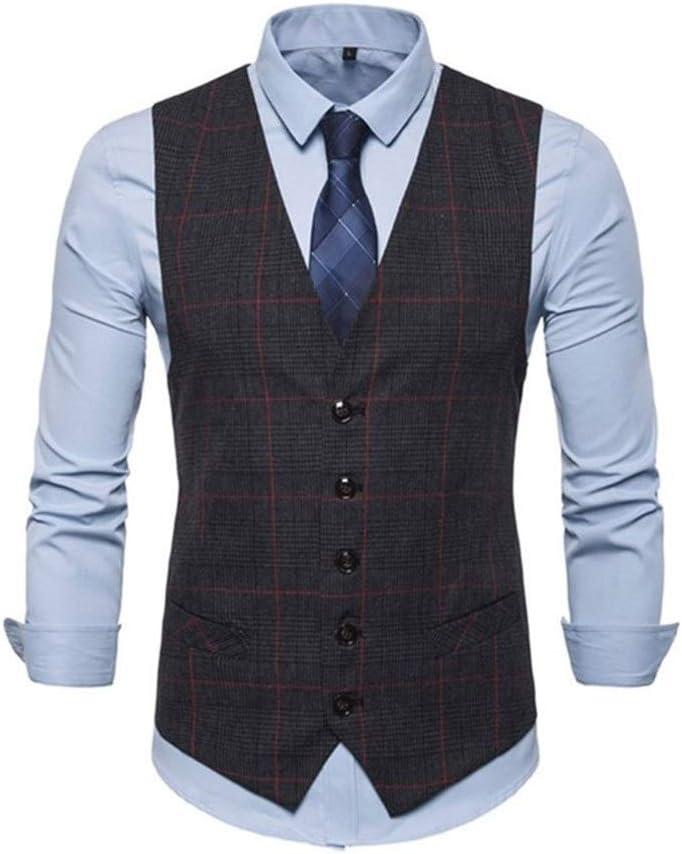 QWERBAM 3 Color Men's Business Ranking TOP9 Slim Max 59% OFF Vests Single Plaid Butto Men