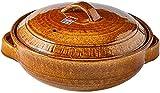 Cazuela de cerámica Redonda con Tapa Utensilios de Cocina de cerámica Donabe Olla Caliente Japonesa Cazuela de Barro Olla Solw Estofado Sopa Resistente al Calor