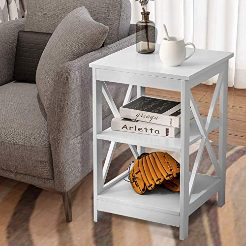 jeerbly Mesa auxiliar de mesa auxiliar para sofá con 3 niveles, mesita de noche para sala de estar, dormitorio, cocina, cualquier habitación (blanco)