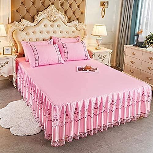 XiaoLuBan Jacquard Lace Ruffle Pink Bedspread Sheet and 2 Pillow Shams Set, King size