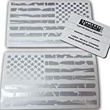 Az Auto Graphics Pair US Distressed American Flag Decal Sticker Die-Cut Grunge Car Truck Subdued Tattered Military (Silver)