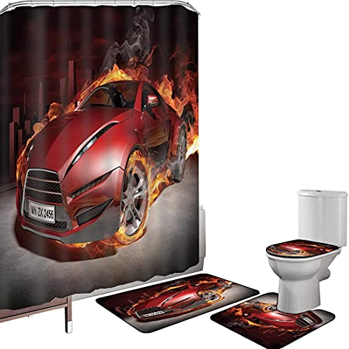 Juego de cortinas baño Accesorios baño alfombras Coches Alfombrilla baño Alfombra contorno Cubierta del inodoro Rojo Coche deportivo Burnout Neumáticos en llamas Motor ardiente Fuego caliente Humo Aut