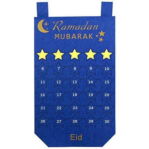 Eid Mubarak Kareem countdown-kalender wandbehang vilten kalender met 30 stuks gouden sterstickers DIY Ramadan party decoratie