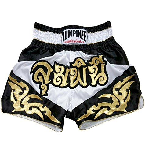 "Lumpinee Muay Thai Shorts New Retro Thai Boxing Shorts MMA Trunks Kick Boxing (4XL (42""-44""), Diamonf - White/Gold)"