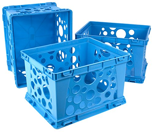 Storex Mini Crate, 9 x 7.75 x 6 Inches, School Blue, Case of 3 (61490U03C)
