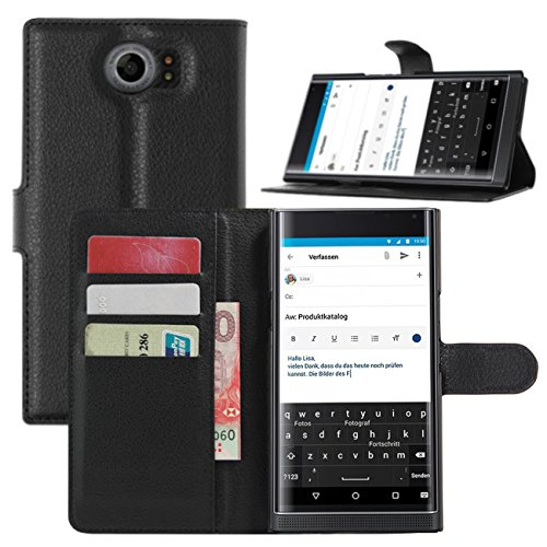 BlackBerry Priv Hülle, HualuBro [Standfunktion] [All Around Schutz] Premium PU Leder Leather Wallet Handy Tasche Schutzhülle Case Flip Cover mit Karten Slot für BlackBerry Priv Smartphone (Schwarz)
