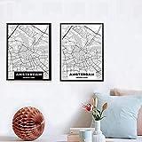 Said - Mapa de impresión creativa, diseño nórdico, personalizable con líneas de ciudad, mapa de Ámsterdam, lienzo para pared, 50 x 75 cm, sin marco