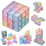 マグネットパズル マグネットブロック 魔方 最強大脳ゲーム 賢人パズル Magnetic Magic Cube Blocks マジックキューブ マグネットおもちゃ 磁石ブロック 積み木 誕生日 入園 クリスマス プレゼント (透明)