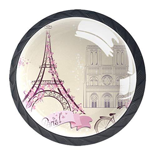 Z&Q Bicicleta Vintage Paris Torre Eiffel Juego de 4 tiradores modern de Base de Plastico & Cristal, con distintos diseños, ideales para puertas, armarios, cajones y cómodas 35mm