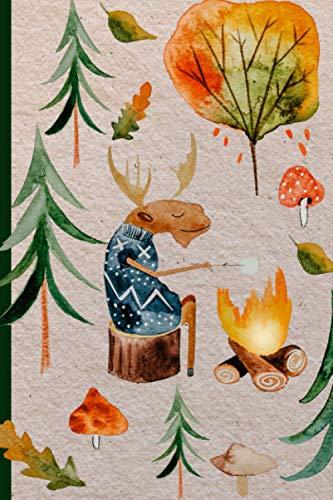 Notizbuch: Blanko DIN A 5 Tagebuch und Journal für Notizen, Ideen und Gedanken I Skandinavisches Motiv Elche im Herbst
