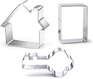 3 Pieces Cookie Cutter Set - Door Key House Stainless Steel