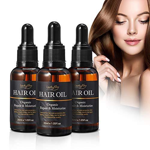 Hair Salon Essential Oil, Luckyfine 3 x 30ML Premium Hair Care Hair Treatment Oils to Repair Dry Damaged Curly Hair, Jojoba Oil Natural Plant Ingredients for Moisturizing & Healing, Healthier, Thicker