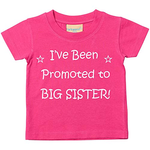 Camiseta rosa con texto en inglés «I've been promoted to big sister»; regalo para nuevas hermanas, disponible en tallas de 0-6 meses a 14-15 años Rosa rosa 24-36 Meses