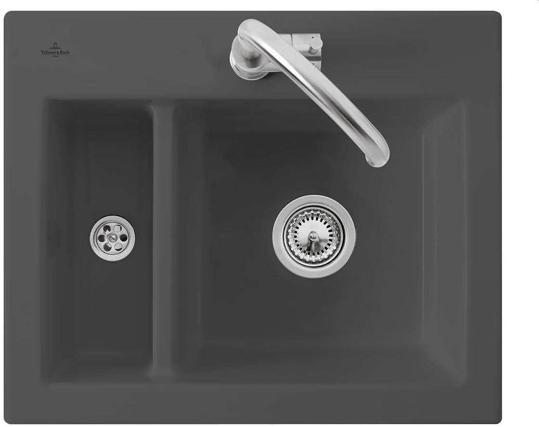 Villeroy & Boch Subway 60 XM Graphit Keramik-Spüle Grau Küchenspüle Auflage-Spüle
