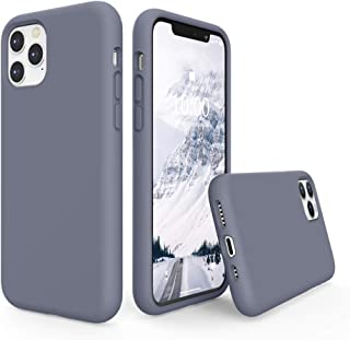 SURPHY Silicone Case Compatible with iPhone 11 Pro Case 5.8 inch, Liquid Silicone Full Body Thickening Design Phone Case (with Microfiber Lining) for iPhone 11 Pro 5.8 2019, Lavender Gray