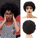 FACE MIRACLE 8 Inch Afro Kinky Curly Short Black Human Hair Wigs for African American Women Natural Color Looking Premium Wigs 150% Density (8 Inch, #1B Natural Black)