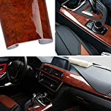 High Glossy Wood Grain Vinyl Wrap Sticker Decal Car Internal Wraps Self Adhesive DIY Film, Waterproof Wrap Roll Without Bubble, 100x 40cm/39.4x15.7in