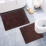 """DON PEREGRINO 2 Pieces Thick & Fluffy Bathroom Rugs and Mats Sets Non Slip(30x19.6"""", 23.6x19.6"""") for Tub/Toilet (Brown)"""