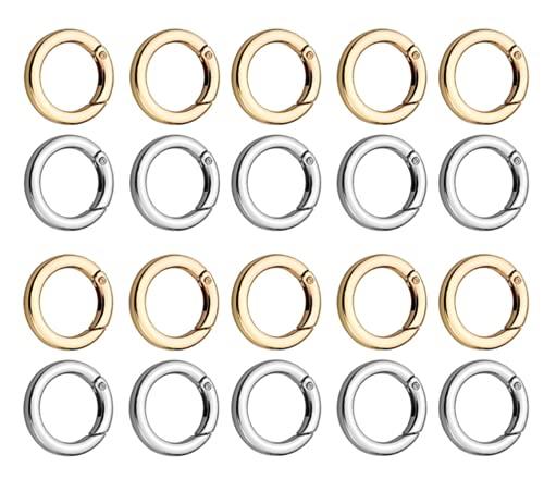 Ncheli 20 piezas Mosquetón redondo ,hebilla con anillo de resorte a presión, clips de gancho para llavero de aleación de zinc para manualidades y accesorios para bolsos