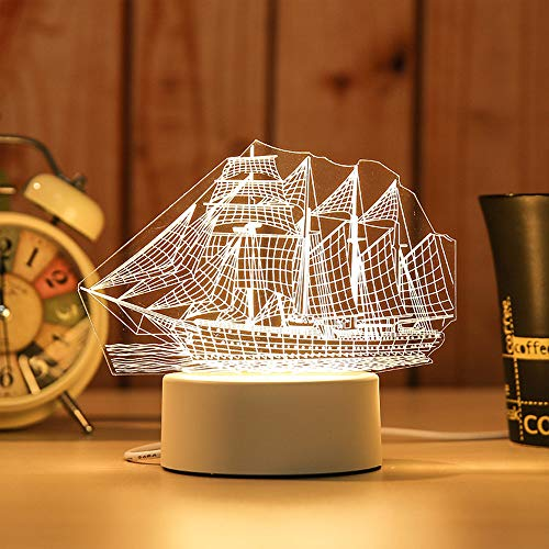 TreeLeaff 3D Illusion Luz nocturna LED, luz blanca cálida USB lámpara de mesa o decoración del hogar, barco de vela