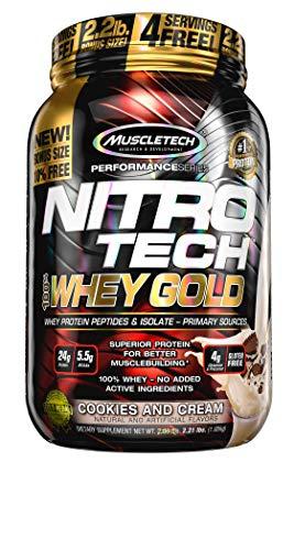Whey Protein Pulver, MuscleTech Nitro-Tech Whey Gold Protein Isolate & Peptides, Eiweißpulver für den Muskelaufbau, Proteinpulver für Männer und Frauen, Cookies and Cream, 1 kg (31 Portionen)