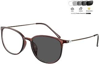Photochromic Reading Glasses Men Women Fashion Retro Full Rim Eyeglass Frame 1.56 Aspheric Resin Optical Lens Sun Readers UV400 /Anti Glare/+1.00 to +6.00 Diopter,BrownFrame,+2.75