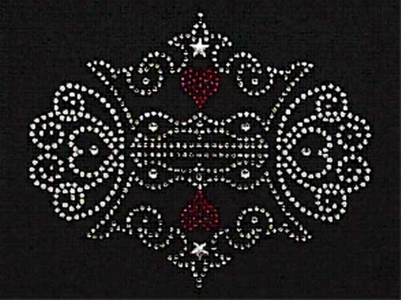 発送入場国内のスパングル&ラインストーン モチーフシート (王冠、組み合わせ) 約145×119mm [アイロン接着]