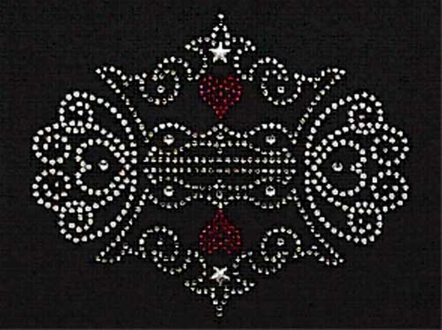 適合誤解させるリンススパングル&ラインストーン モチーフシート (王冠、組み合わせ) 約145×119mm [アイロン接着]