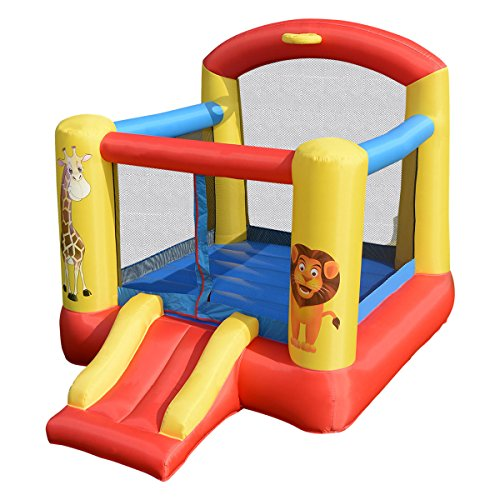 Costzon Inflatable Bounce House, Castle Jumper Slide Mesh Walls, Kids Party Jump Bouncer House w/Net, Carry Bag Without Blower (Lion & Giraffe Themed)