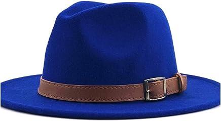 2019 Women Fashion Men Women Fedora Hat, Jazz Hat Summer Spring Black Wool Blend Hat Outdoor Casual Jazz Hat (Color : Blue, Size : 56-58CM)