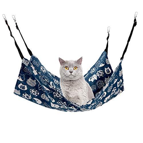 Jodsen Hamaca Colgante para Gatos,Cama para Mascotas Suave Colgante de 60 * 50 cm con Correas Ajustables,Cama Colgante para Gatos con Bola de Juguete de Estilo Aleatorio para Gatos Navy