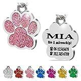 Iberiagifts - Zampa in Acciaio Targhetta Medaglietta identificativa Personalizzata per Collare Cane Gatto Animale Domestico con incisione (Rosa)
